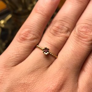 Goldtone Garnet Rope Band Ring Size 7
